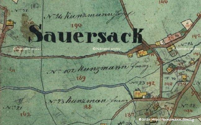 Katasterplan von Sauersack