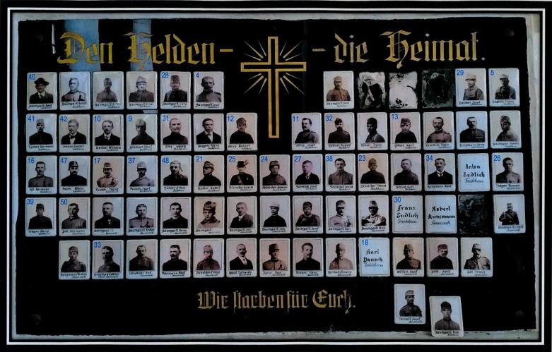 Totentafel 1914 – 1918 der Kirche Frühbuß