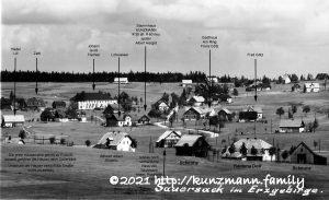 Sauersack - Dorfansicht ca. 1935 mit Ergänzungen von H.K.