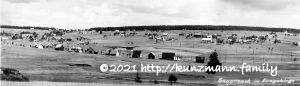 Sauersack - Dorfansicht ca. 1935 - Fotomontage mit zwei Dorfansichten durch H.K.