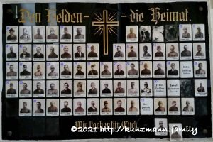 Frühbuß - Kirche - Totentafel 1. Weltkrieg 1914 - 1918 - August 2015