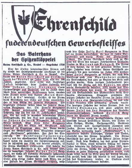 Zeitungsartikel über die Firma Anton Gottschald & Co. in Neudek