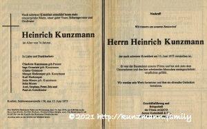 Todesanzeige Heinrich Kunzmann